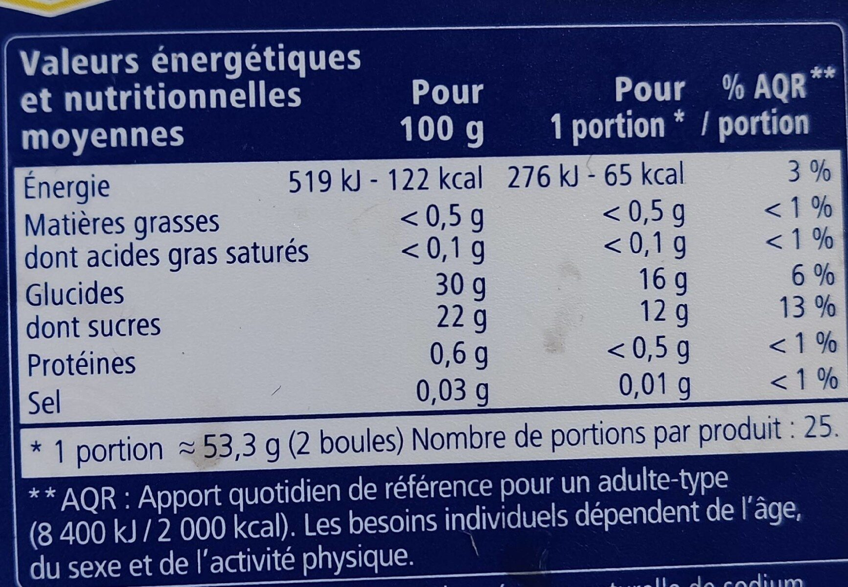 Sorbet passion - Informations nutritionnelles - fr