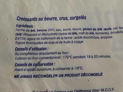 20 croissants au beurre crus surgelés - Ingredients - fr