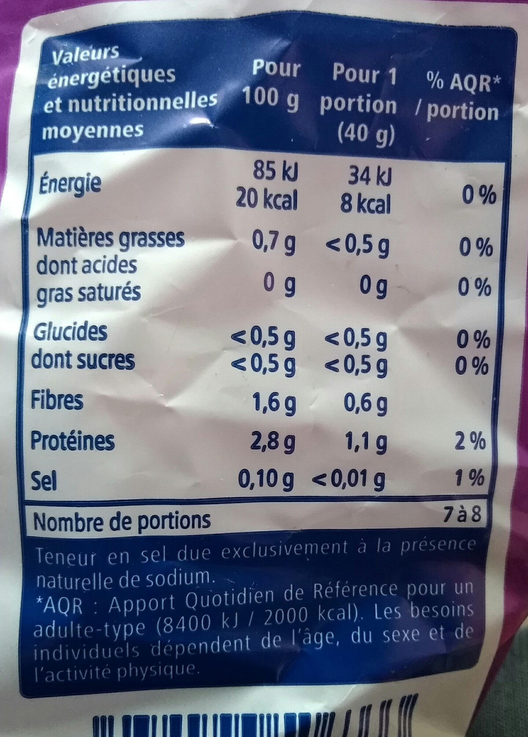 Salade jeunes pousses d'épinards - Nutrition facts - fr