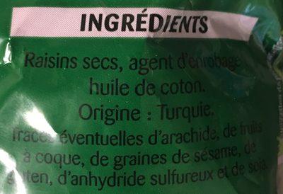 Raisins Secs Sultanines - Ingrédients - fr