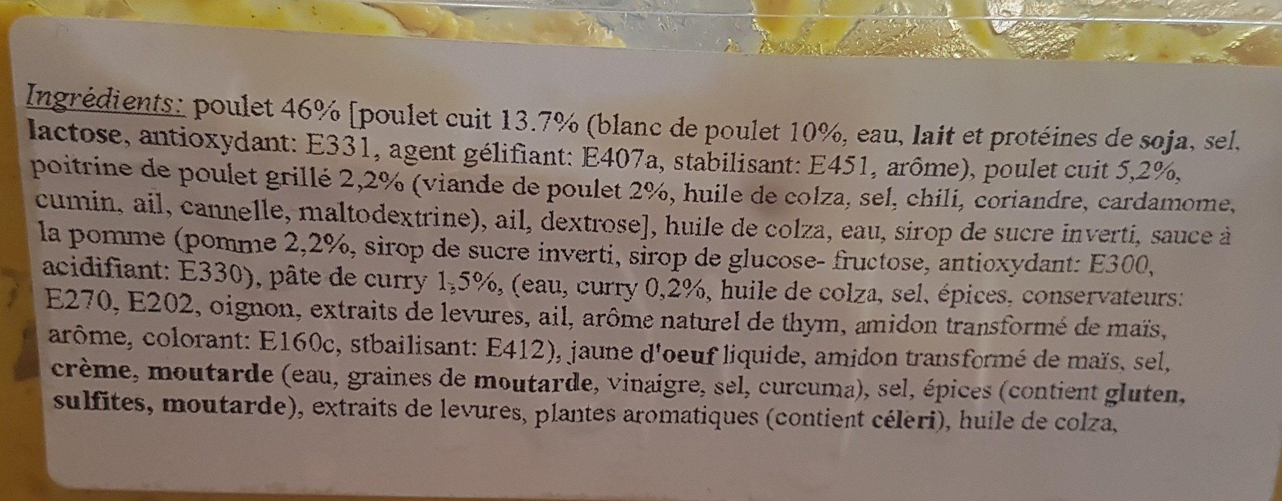 Préparation pour sandwich poulet et curry - Ingrediënten - fr