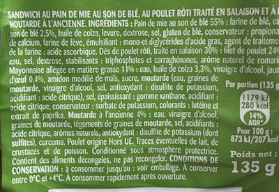 Sandwich Poulet Moutarde - Ingrediënten - fr