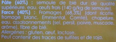 Raviolis aux 4 Fromages - Ingrédients - fr
