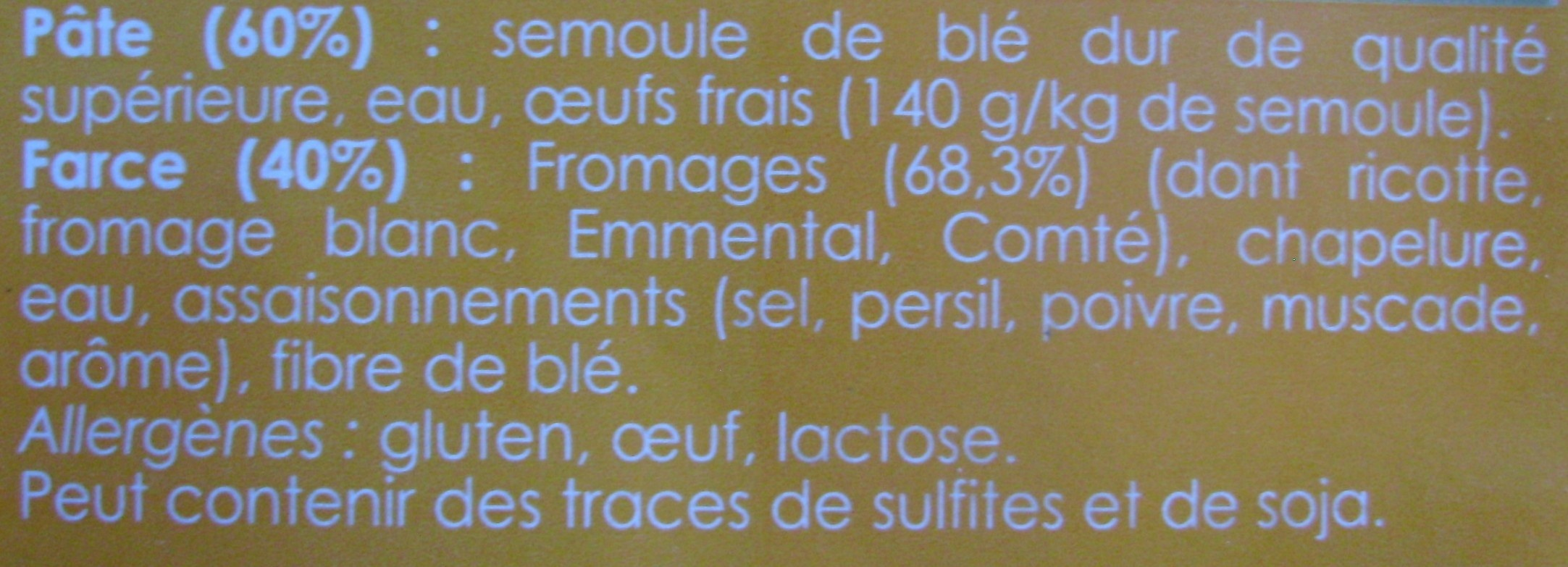 Raviolis aux 4 Fromages - Ingrediënten