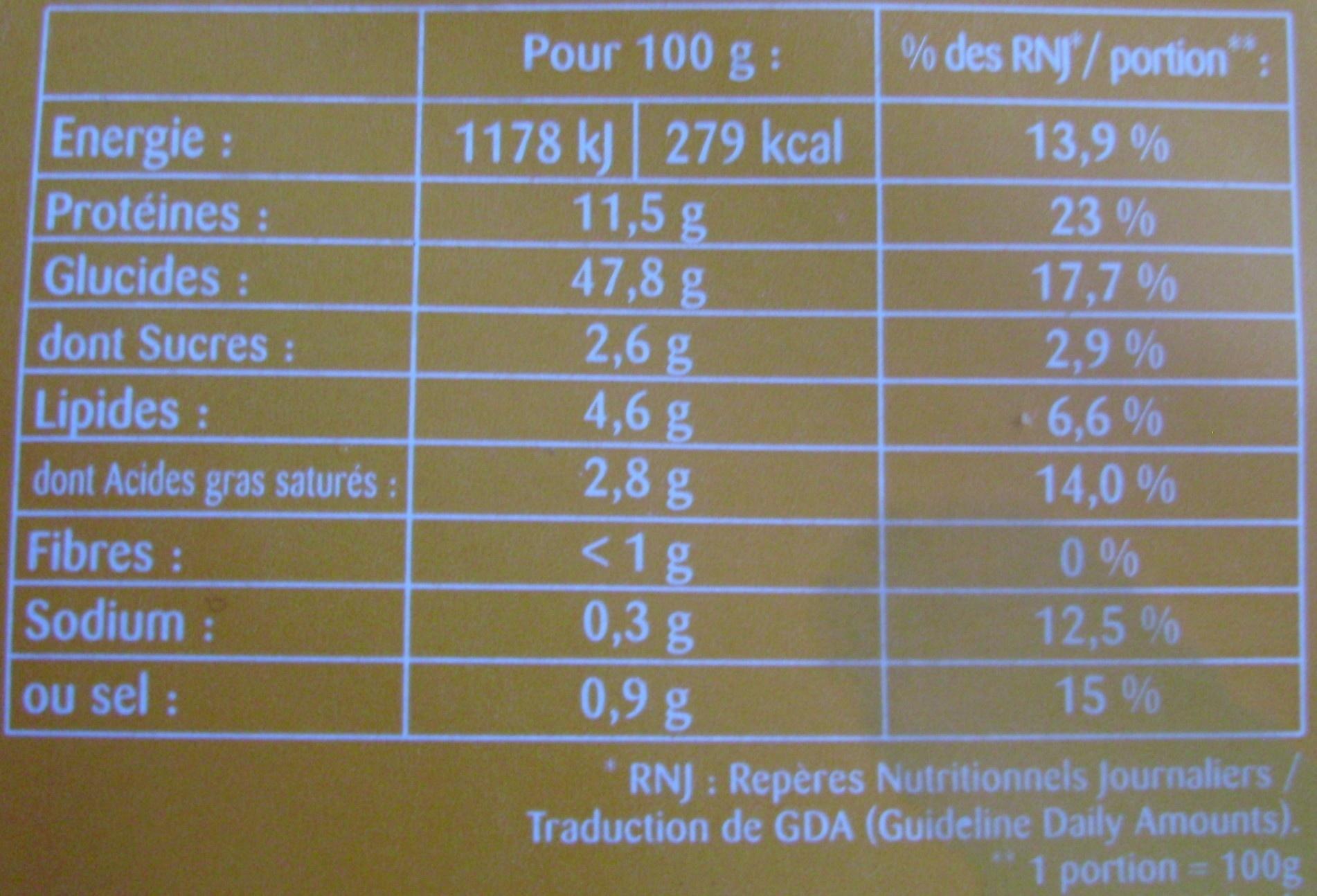 Raviolis aux 4 Fromages - Informations nutritionnelles - fr