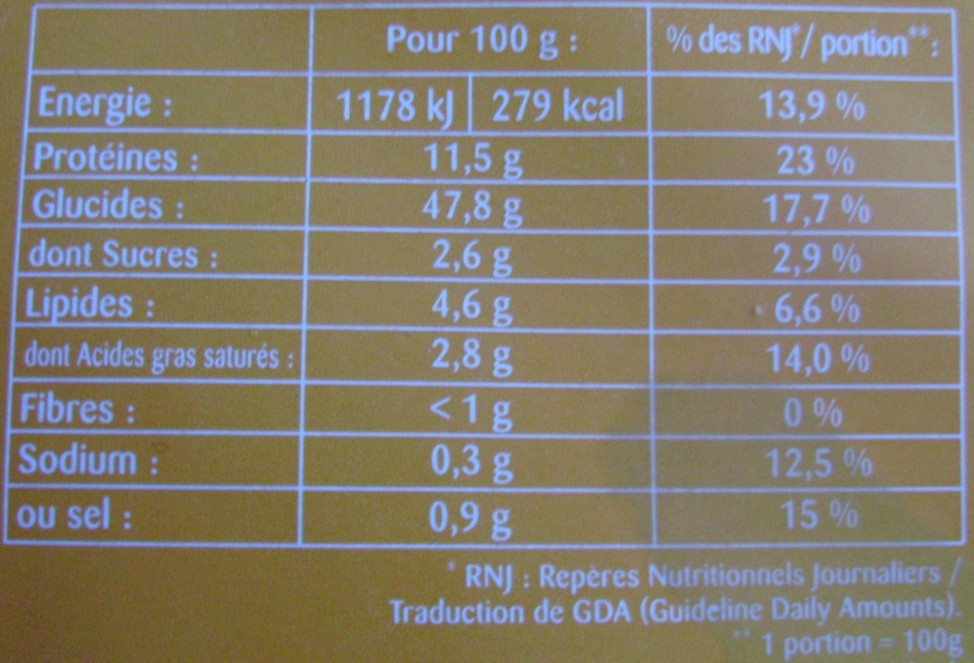 Raviolis aux 4 Fromages - Voedingswaarden