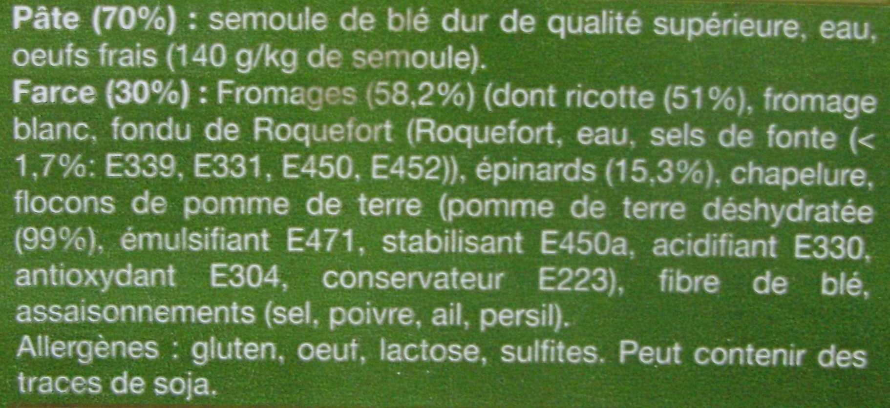 Tortellinis à la ricotte & aux épinards - Ingrédients - fr