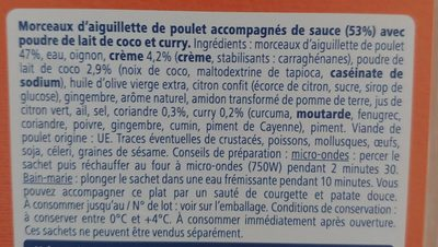 Poulet curry coco - Inhaltsstoffe