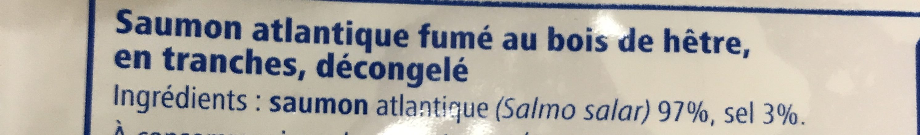 Saumon Atlantique Fumé 200gr - Ingrédients - fr
