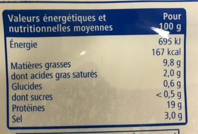 Saumon Atlantique Fumé 200gr - Informations nutritionnelles - fr
