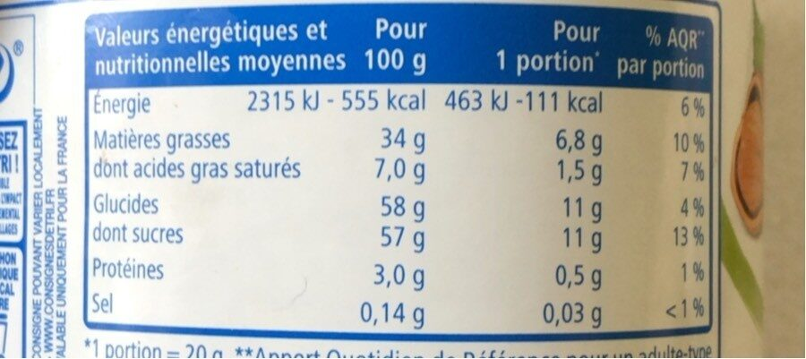 Pate a tartiner - Informations nutritionnelles - fr