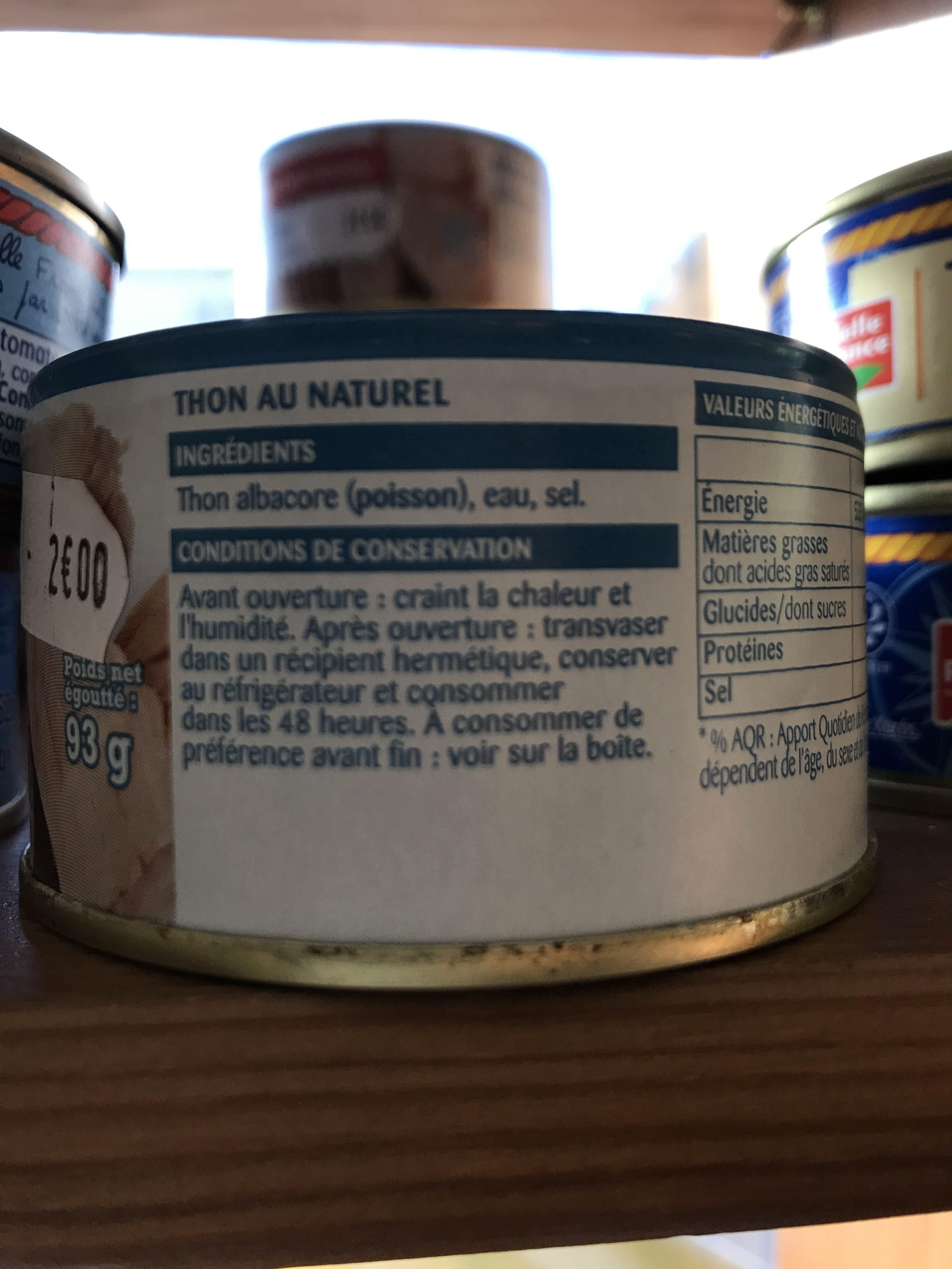 Thon albacore au naturel - Ingredients