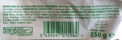 Beurre demi-sel - Ingredients - fr