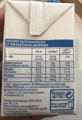 Creme legere - Ingrediënten - fr