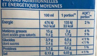 Creme legere - Voedingswaarden - fr