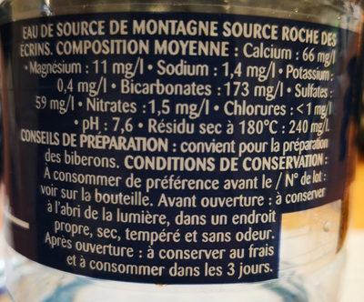 Eau de source de montagne source Roche des écrins - Informations nutritionnelles - fr