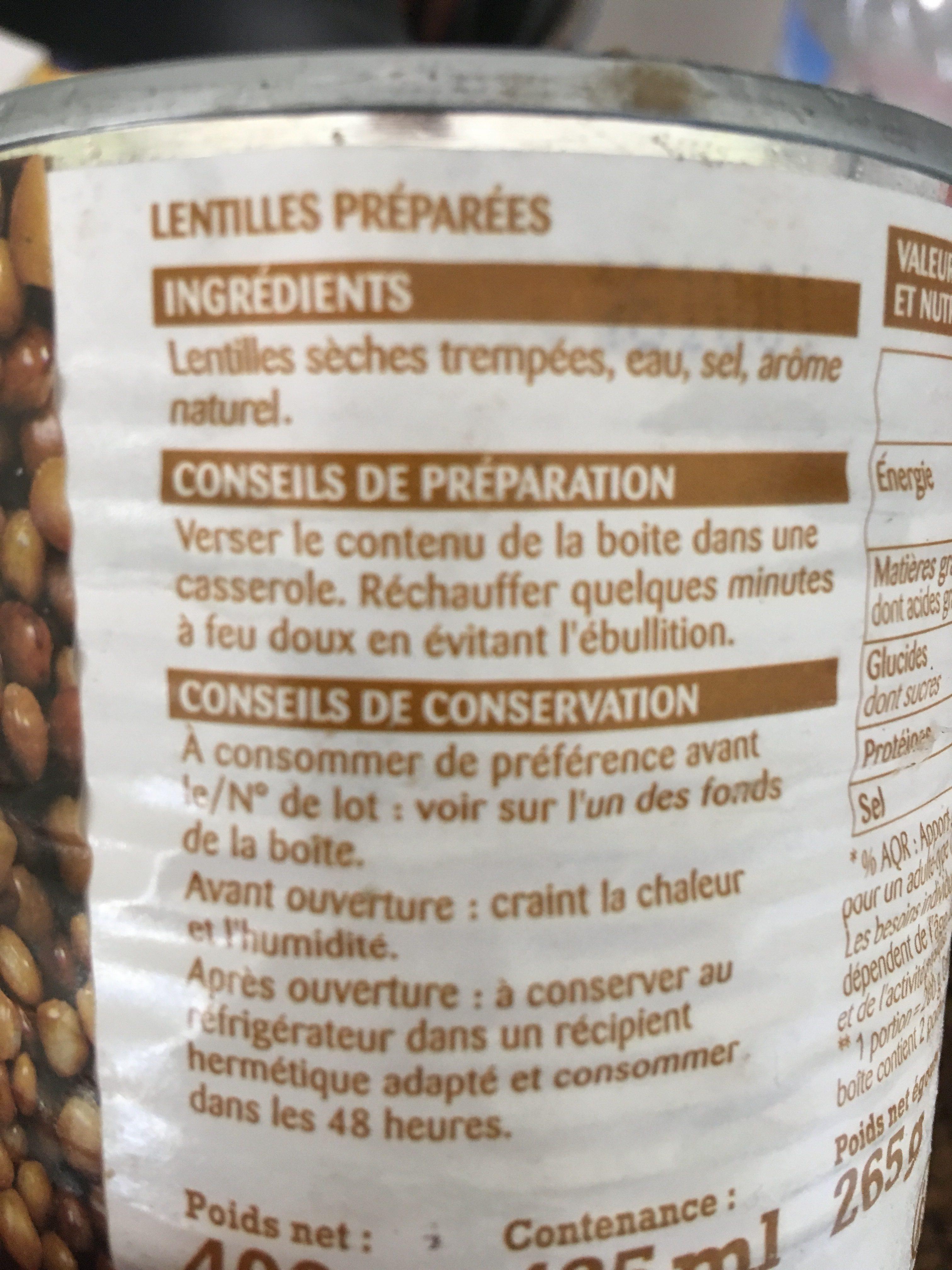 Lentilles Préparées Rochambeau - Ingrédients - fr