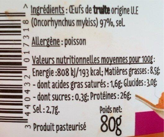 Œufs de truite - Voedingswaarden - fr