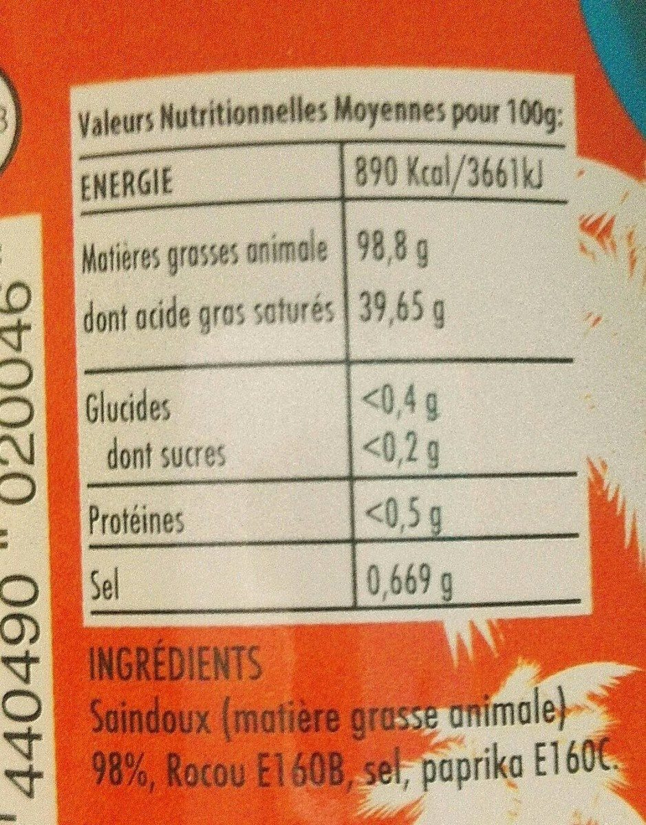 Bè rouj kréyol - Nutrition facts - fr