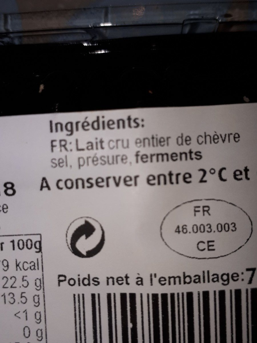 Rocamadour fermier - Ingrediënten - fr