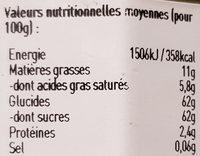 Crème de pistache - Voedingswaarden - fr