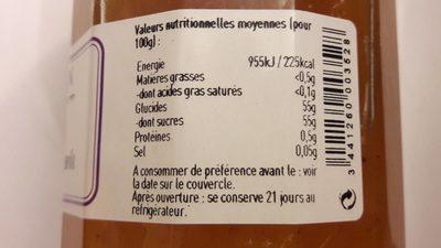 Confiture artisanale Melon à la gousse de vanille - Informations nutritionnelles