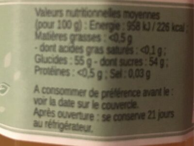 Confiture Ananas Mangue - Nutrition facts - fr