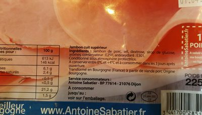 Jambon cuit - Ingredients - fr