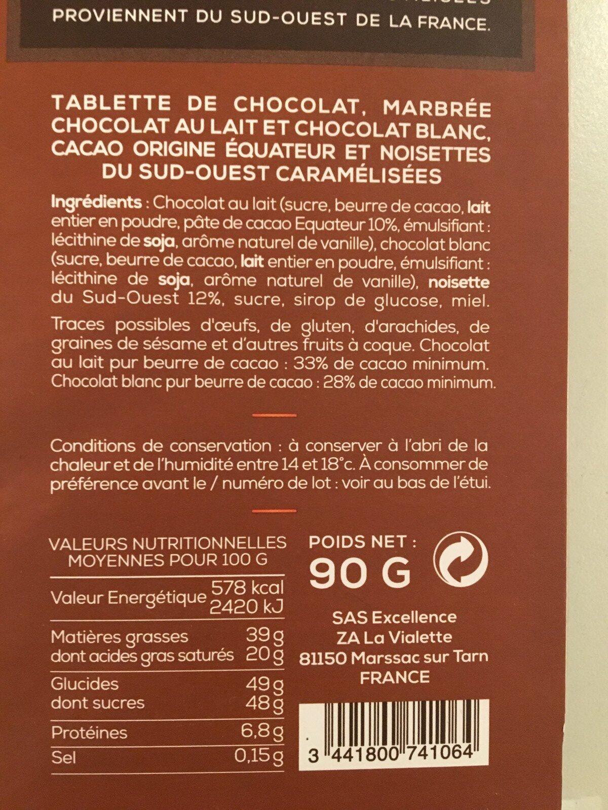 Marbré lait blanc noisettes - Ingredients - fr