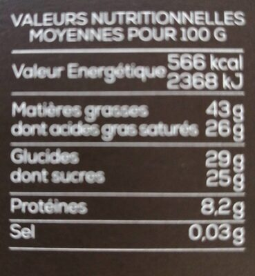 Chocolat - Voedingswaarden - fr