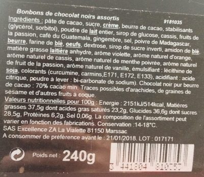 Bonbons de chocolats - Ingredients