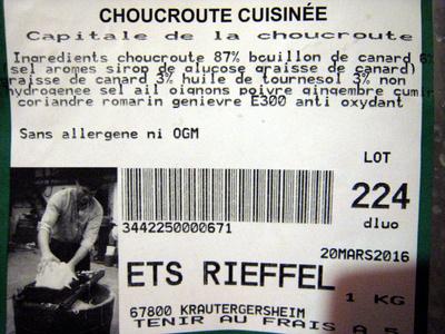 Choucroute cuisinée - Informations nutritionnelles