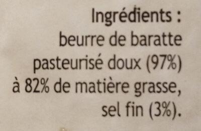 Beurre de baratte demi-sel - Ingrédients - fr