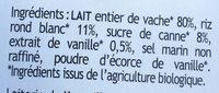 Riz au lait au lait entier et vanille de Madagascar - Ingrediënten
