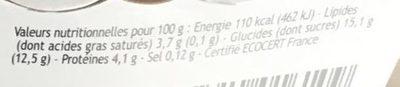 Yaourt brassé myrtille au lait entier - Informations nutritionnelles