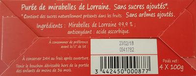 Compote Mirabelles de Lorraine - Ingrédients - fr