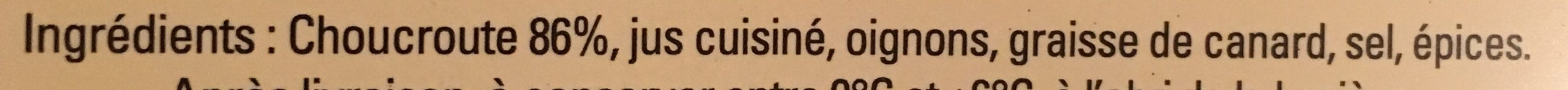 Choucroute Cuisinée - Ingrédients