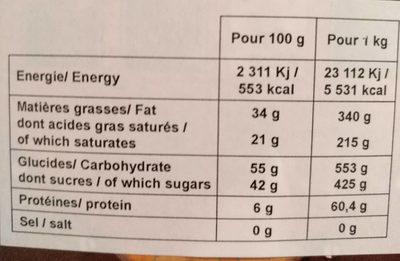 Chocolat lait fourré ananas - Nutrition facts