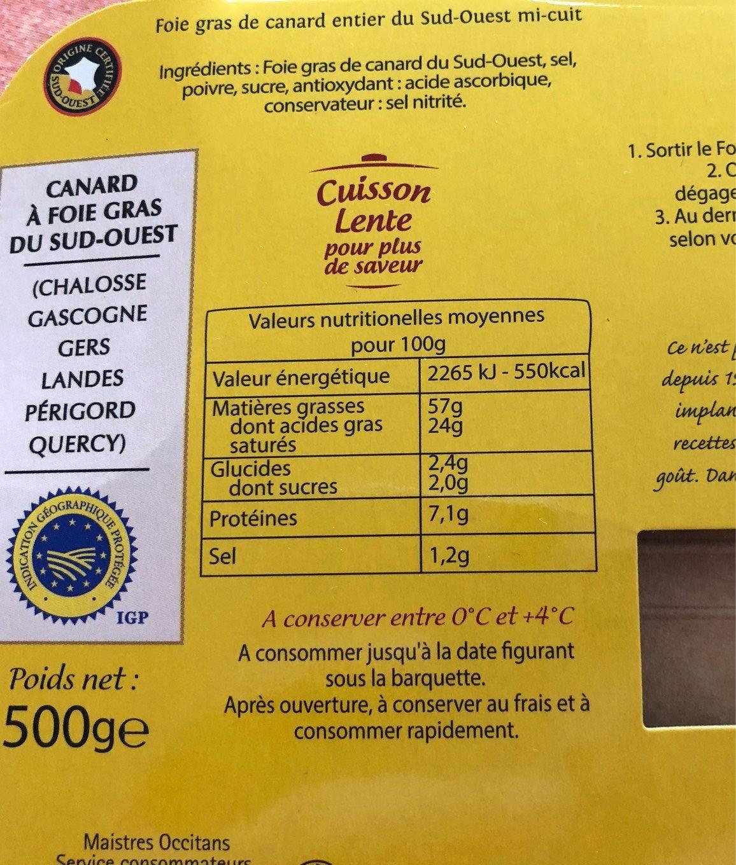 Foie gras de canard entier du Sud-Ouest mi-cuit - Nutrition facts - fr