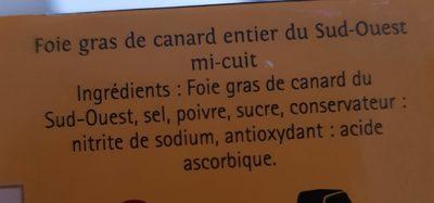 Foie gras de canard du Sud Ouest mi cuit - Ingrediënten - fr