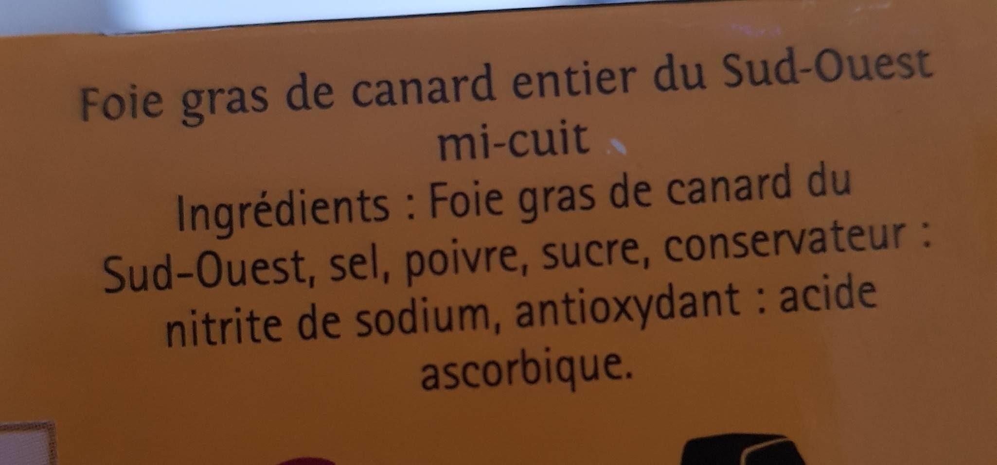 Foie gras de canard du Sud Ouest mi cuit - Ingredients - fr
