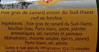 Foie gras de canard entier au torchon - Ingredients