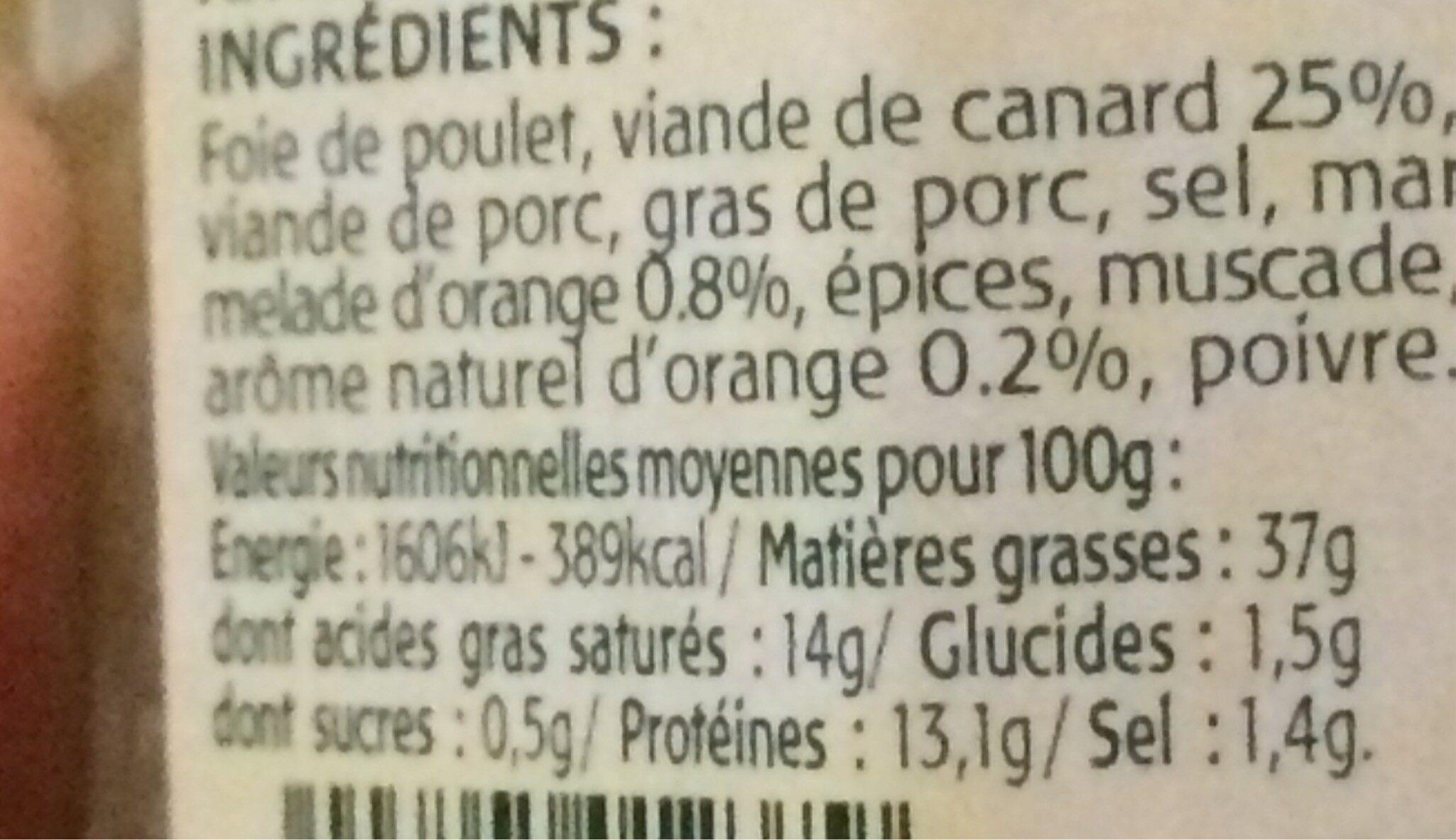 Terrine de canard aromatisée àl'orange - Informations nutritionnelles - fr
