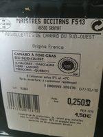 Aiguillettes Maistres Occitans Canard sud ouest - Ingrédients