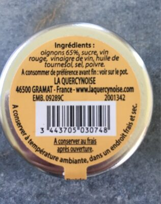 Confit d'oignon - Nutrition facts - fr