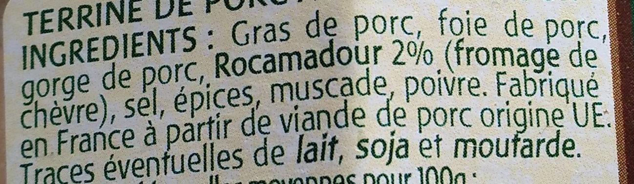 Terrine rustique au Rocamadour - Ingredienti - fr