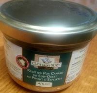 Rillettes pur canard du Sud-Ouest au piment d'Espelette - Product