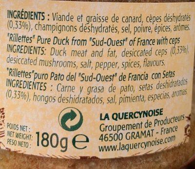 Rillettes pur canard du sud-ouest - Ingredients