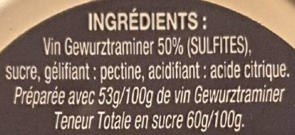 Gelée de vin gewurztraminer - Ingredients - fr