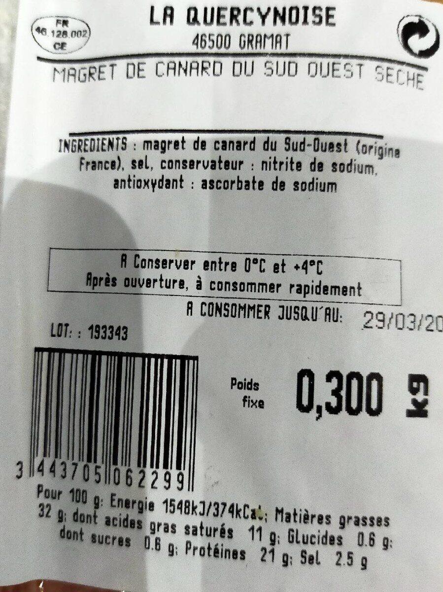 Magret de canard séché - Nutrition facts - fr